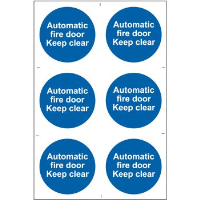 """Automatic Fire Door Keep Clear"" Sign, Self-Adhesive Semi-Rigid PVC (200mm x 300mm)"
