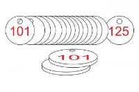 White/Red Traffolite Tags (101 to 125), 38mm