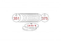 White/Red Traffolite Tags (351 to 375), 27mm