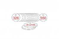 White/Red Traffolite Tags (326 to 350), 27mm