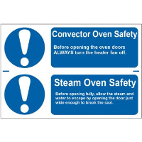"""""""Convector Oven Safety/Steam Oven Safety"""" Sign, Self-Adhesive Semi-Rigid PVC (300mm x 200mm)"""