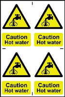 """Caution Hot Water"" Sign, Self-Adhesive Semi-Rigid PVC, 4 per sheet (200mm x 300mm)"