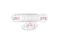 White/Red Traffolite Tags (251 to 275), 27mm