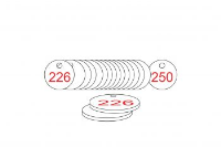 White/Red Traffolite Tags (226 to 250), 27mm