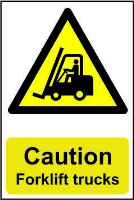 """Caution Forklift Trucks"" Sign, Self-Adhesive Semi-Rigid PVC (200mm x 300mm)"