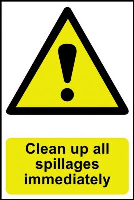 """Clean Up All Spillages Immediately"" Sign, Self-Adhesive Semi-Rigid PVC (200mm x 300mm)"