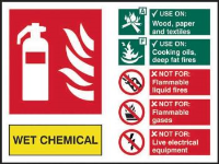 'Fire Extinguisher Composite - Wet Chemical' Sign, Self-Adhesive Vinyl (200mm x 150mm)