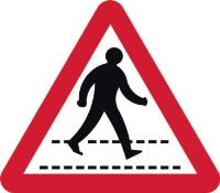 'Pedestrian Walkway Road' Sign, Aluminium Composite with channel (600mm tri.)
