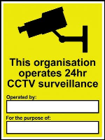 'This Organisation Operates CCCTV' Sign, Non Adhesive Rigid 1mm PVC Board (300mm x 400mm)