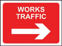 'Works Traffic (Arrow Right)' Temporary Road Sign, Zintec without channel (1050mm x 750mm)