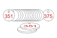 White/Red Traffolite Tags (351 to 375), 38mm