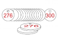 White/Red Traffolite Tags (226 to 300), 38mm