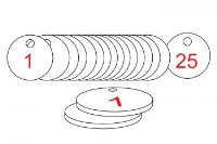 White/Red Traffolite Tags (1 to 25), 38mm