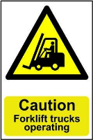 """Caution Forklift Trucks Operating"" Sign, Self-Adhesive Semi-Rigid PVC (200mm x 300mm)"