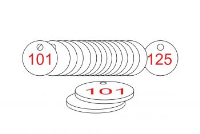 White/Red Traffolite Tags (101 to 125), 33mm