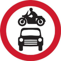 'Motor Vehicles Prohibited' Road Sign, Aluminium Composite with channel (450mm dia.)