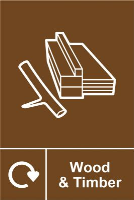 'Wood & Timber Recycling' Sign, Self-Adhesive Vinyl (150mm x 200mm)