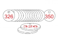 White/Red Traffolite Tags (326 to 350), 38mm
