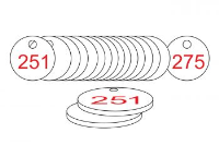 White/Red Traffolite Tags (251 to 275), 38mm