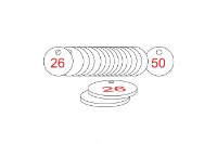 White/Red Traffolite Tags (26 to 50), 27mm