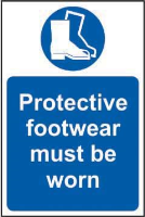 'Protective Footwear Must Be Worn' Sign, Non Adhesive Rigid PVC (200mm x 300mm)