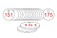 White/Red Traffolite Tags (151 to 175), 38mm