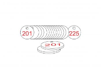 White/Red Traffolite Tags (201 to 225), 27mm
