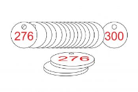 White/Red Traffolite Tags (226 to 300), 33mm