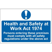 """""""Health & Safety at Work Act 1974"""" Sign, Self-Adhesive Semi-Rigid PVC (300mm x 200mm)"""
