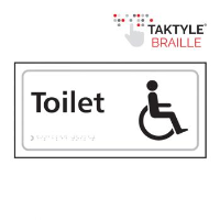'Toilet (With Disabled Symbol)' Sign, Self-Adhesive Taktyle, White, (300mm x 150mm)