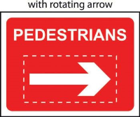 'Pedestrians With Reversible Arrow' Temporary Road Sign with Frame, Zintec with channel (600mm x 450mm)