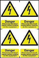 """""""Danger Disconnect Electrical Supply Before Working On This Equipment"""" Sign, Self-Adhesive Semi-Rigid PVC, 4 per sheet (200mm x 300mm)"""