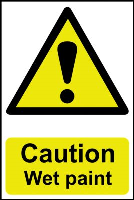 """Caution Wet Paint"" Sign, Self-Adhesive Semi-Rigid PVC (200mm x 300mm)"