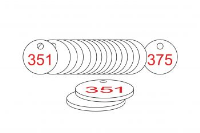 White/Red Traffolite Tags (351 to 375), 33mm
