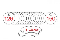 White/Red Traffolite Tags (126 to 150), 38mm
