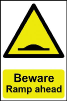 """Beware Ramp Ahead"" Sign, Self-Adhesive Semi-Rigid PVC (200mm x 300mm) Style B"