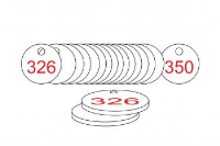 White/Red Traffolite Tags (326 to 350), 33mm