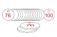 White/Red Traffolite Tags (76 to 100), 38mm