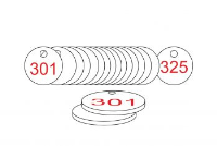 White/Red Traffolite Tags (301 to 325), 33mm