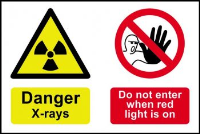"""""""Danger X-rays Do Not Enter When Red Light Is On"""" Sign, Self-Adhesive Semi-Rigid PVC (300mm x 200mm)"""