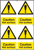"""Caution Hot Surface"" Sign, Self-Adhesive Semi-Rigid PVC, 4 per sheet (200mm x 300mm)"