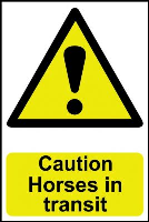 """Caution Horses In Transit"" Sign, Self-Adhesive Semi-Rigid PVC (200mm x 300mm)"