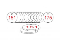 White/Red Traffolite Tags (151 to 175), 33mm