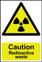 """Caution Radioactive Waste"" Sign, Self-Adhesive Semi-Rigid PVC (200mm x 300mm)"