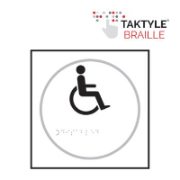 'Disabled Symbol' Sign, Self-Adhesive Taktyle, White, (150mm x 150mm)