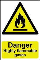 """""""Danger Highly Flammable Gases"""" Sign, Self-Adhesive Semi-Rigid PVC (200mm x 300mm)"""