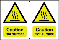 """Caution Hot Surface"" Sign, Self-Adhesive Semi-Rigid PVC, 2 per sheet (300mm x 200mm)"