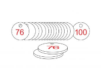 White/Red Traffolite Tags (76 to 100), 33mm