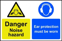 """Caution Noise Hazard Ear Protection Must Be Worn"" Sign, Self-Adhesive Semi-Rigid PVC (300mm x 200mm)"