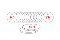 White/Red Traffolite Tags (51 to 75), 33mm